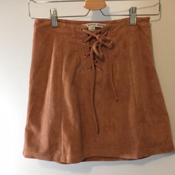 HYFVE Dresses & Skirts - Von Maur mauve/pink lace up mini skirt